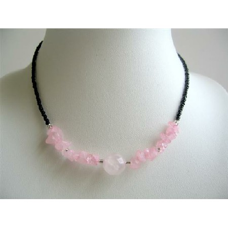 Rose Quartz Nugget & Stone Chip Necklace Faceted Beads Necklace