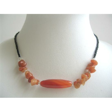 Carnelian Nuggets w/ Carnelian Simulated Stone Bead Choker Necklace