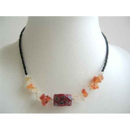 Stone Nugget Carnelian w/ Simulated Millefiori Necklace