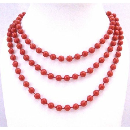 Sexy Red Bead Long Necklace Red Lucite Beads 2 or 3 Strands 54 Inches
