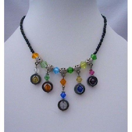 Multi Colored Simulated Crystals Necklace Black Beaded Dangling Choker