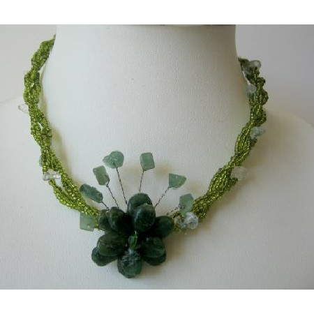 Green Necklace Beaded Choker Jade Color Flower & Green Nugget Necklace