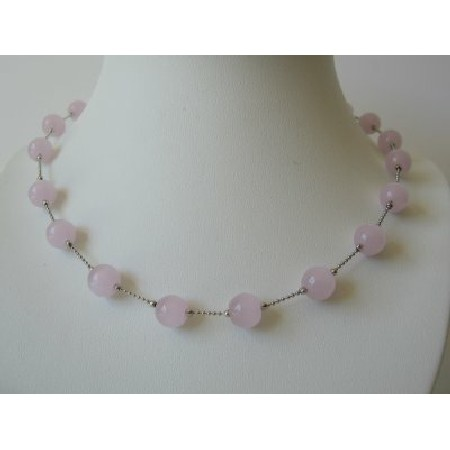 Pink Glass Faceted Beads Dainty Rhodium Silver Plated Chain Necklace