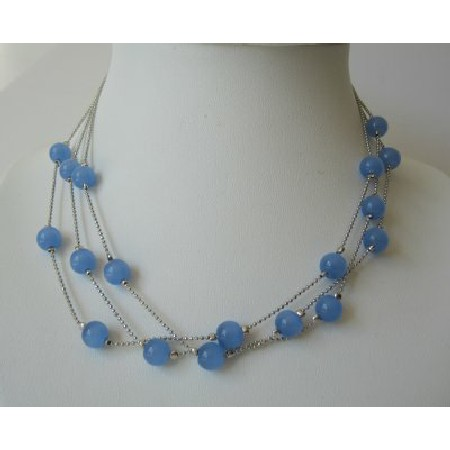 Multi Strands Dark Blue Faceted Beads Necklace Glass Beads Choker