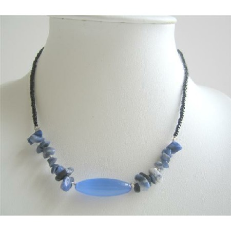 Nuggets Blue Stone Beaded Necklace Simulated Millefiori Choker