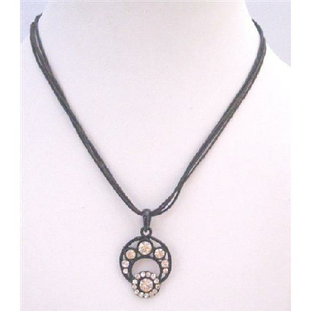 Cubic Zircon Bling Bling Pendant Necklace Black Velvet Chord Choaker