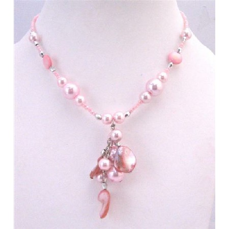 Sexy Pink Shell Choker Pink Cultured Pearls w/ Shell Dangling Necklace