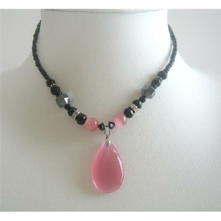 Pink Cat Eye Teardrop Pendant Necklace Black Beaded Choker Necklace