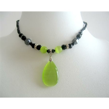 Peridot Green Cat Eye Teardrop Pendant Choker Necklace