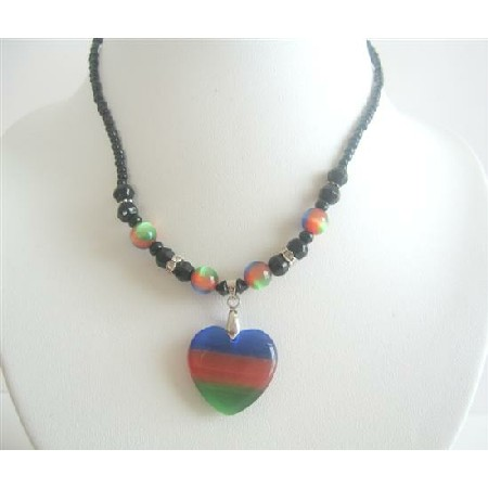 Heart Pendant Choker Colorful Cat Eye Heart Pendant Necklace Choker
