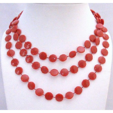Red Flat Bead Long Necklace Striking Red Bead 54 Inches Long Necklace