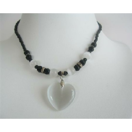 Pure White Heart Pendant Necklace Cat Eye Black Beaded Choker Necklace