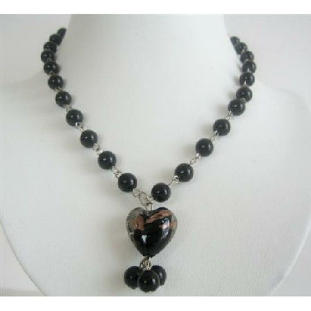 Black Cultured Pearl 8mm Beads w/ Heart Pendant Dangling Necklace