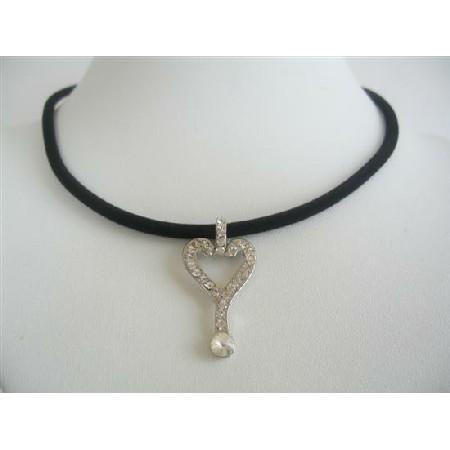 Key Pendant Necklace Cubic Zircon Pendant Black Velvet Chord Choker
