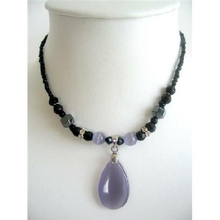 Amethyst Cat Eye Jewelry Teardrop Pendant Black Beaded Choker Necklace