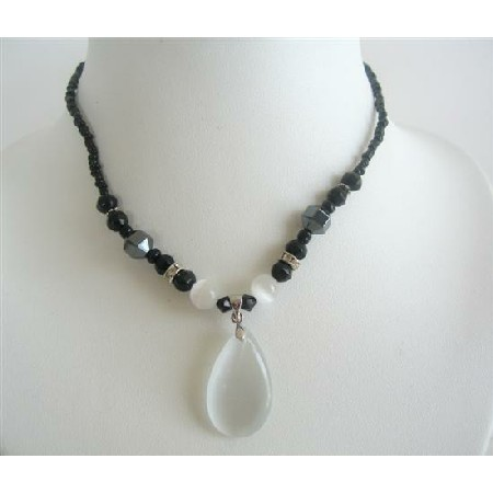 Opal White Cat Eye Teardrop Pendant Black Beaded Choker Necklace