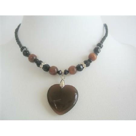 Brown Heart Pendant Brown Cat Eye Heart Black Beaded Choker Necklace
