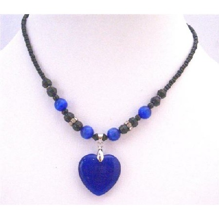Dark Blue Heart Pendant Cat Eye Heart Black Beaded Choker Necklace
