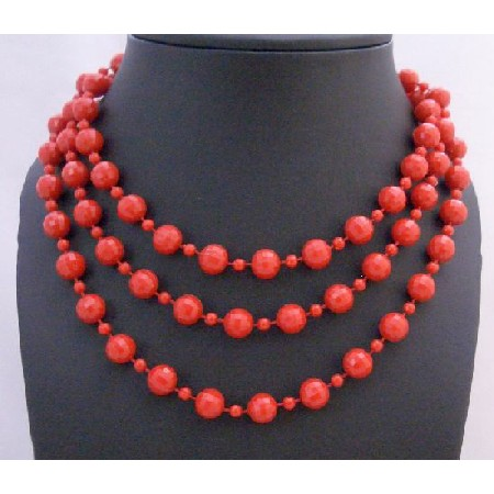 Beaded Fancy striking Red Big Small Bead 54 Inches Long Necklace