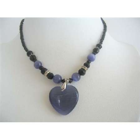 Amethyst Heart Cat Eye Heart Pendant Black Beaded Choker Necklace