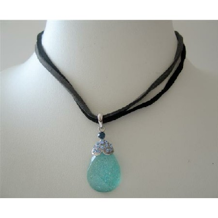Blue Teardrop Pendant Double Strands Velvet Chord Necklace