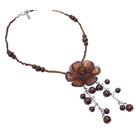 Smoked Topaz Brown Wedding Bridesmaid Brown Beads Pearl Necklace