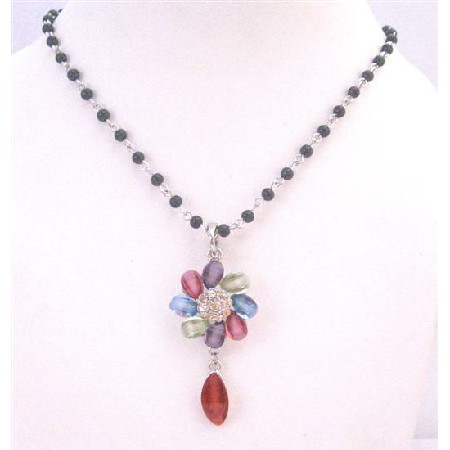 Black Pearl Chained Necklace Multicolored Flower Teardrop Necklace