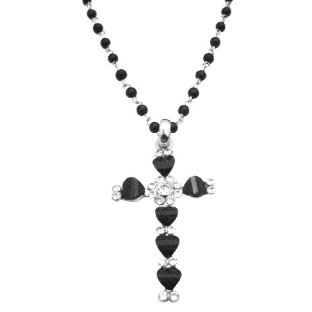 Black Cross Pendant Christmas Gift Black Cubic Zircon Cross Necklace