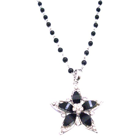 Black Star Pendant Diamante Outlined Accented Black Pearl Necklace