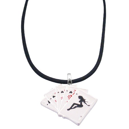 Cards Pendant w/ Playing Cards Pendant in Black Chord Under $5 Dollar