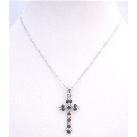 Black Cross Pendant Black Beaks & Embedded with Diamante Necklace Gift