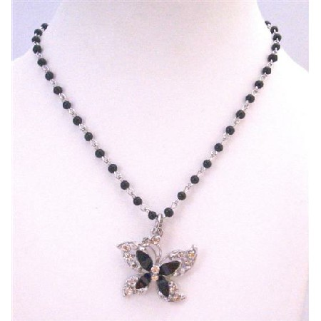 Sparkling Butterfly Pendant Black Pearl Chained Necklace with Diamante