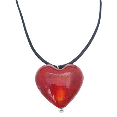 Red Heart Filled w/ Your Love Jewelry Red Murano Glass Heart Pendant