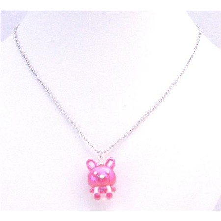 Bunny Rabbit Easter Fuchsia Bunny Cute Pendant Inexpensive Necklace