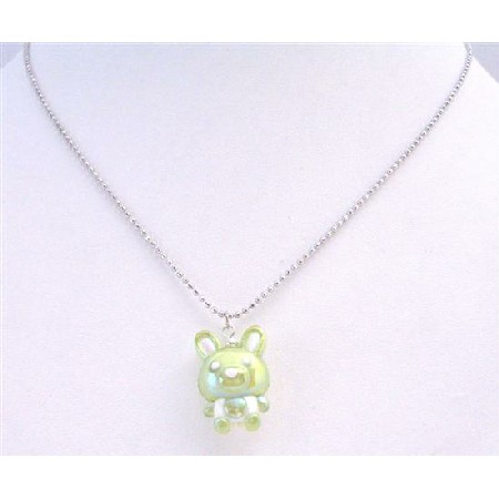 Charming Easter Bunny Rabbit Gift Cute Green Bunny Under $5 Necklace