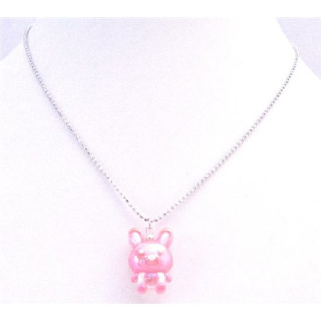 Easter Jewelry Rabbit Pendant Easter Bunny Rabbit Cute Pink Pendant