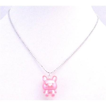 Easter Jewelry Rabbit Pendant Easter Bunny Rabbit Cute Pink Pendant