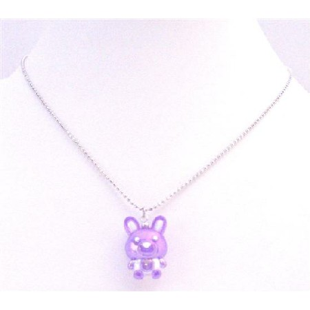Special Holiday Necklace Easter Bunny Rabbit Pendant Purple Enamel