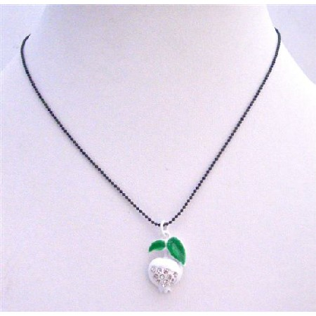 White Enamel Apple Pendant Black Beaded Choker Necklace w/ CZ Embedded