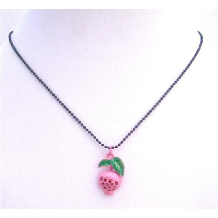 Shimmering Pink Enamel Fruit Pendant Choker w/ Black Beaded Necklace