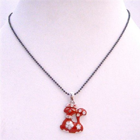Red Enamel Sexy Red Kitty Pendant w/ Black Beaded Choker Necklace