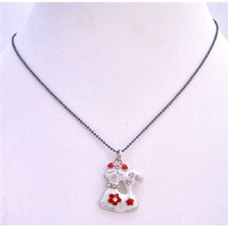 Kitty Pendant Black Beaded Choker White Enamel Red Bow On Her Head