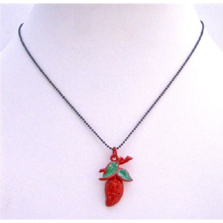 Red Strawberry Pendant Necklace Embedded Cubic Zircon & Green Leaves