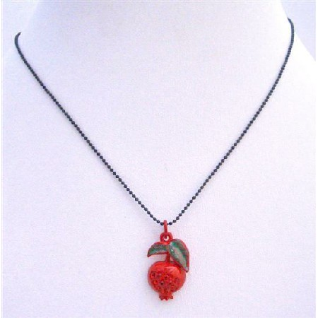Shimmering Red Enamel Apple Pendant Cubic Zircon Black Beaded Necklace