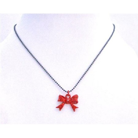 Bow Pendant Red Bow w/ Red Cz Pendant Choker Necklace
