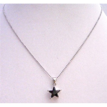 Black Star Pendant Pendant Embedded w/ Immitation Jet Crystal Necklace