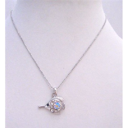 Fish Pendant Necklace Fully Embedde w/ Cubic Zircon In Silver Chain