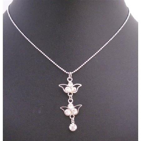 Cubic Zircon Dangling Pendant Necklace Silver Frame Cubic Zircon