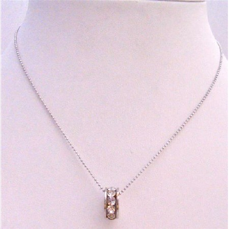 Ring Pendant Necklace Embedded w/ Cubic Zircon Silver Plated Necklace