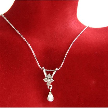 Cubic Zircon Teardrop Necklace w/ Cute Dangling Pendant Necklace